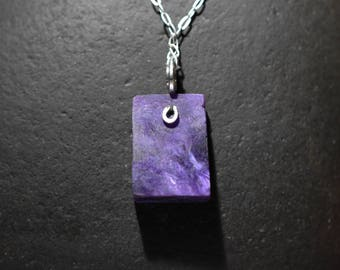 Charoite Pendant Slab  Necklace,Sterling silver wire wrap Crystal