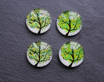 """Set of 4 cabochons 18 mm """"Tree of life"""""""