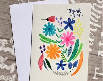 Original hand-painted card / Thank you card / Floral card / Flower card / Watercolor + Acrylic painting, NOT a print