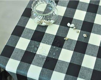 Laminated Black Plaids Cotton Fabric 100816