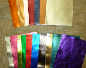 """Metallic Leather 8""""x10"""" CHOOSE your COLOR Bright Metallic SMOOTH Foil Cowhide Leather PeggySueAlso™ full hides available"""