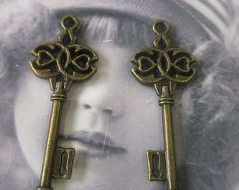 Bronze Ox Plated Cast Skeleton Key Charms 102BRZ x2