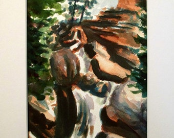 """Watercolour. , Nature Lover Gift, Colorado Landscape Art, Black Canyon. """"Giver of Life"""" Matted"""