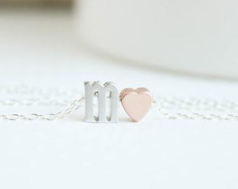 Silver Letter Necklace, Lower Case Letter, Silver Initial, Silver Initial Necklace, Initial Jewelry