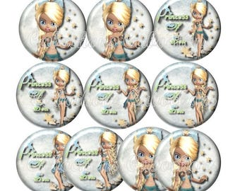 Set of 10 cabochons 20mm glass, girl, sea, beach, ref ZC150
