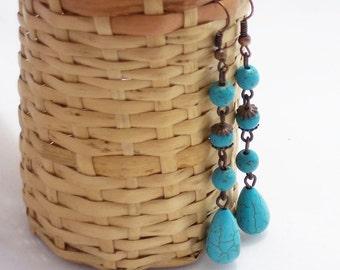 New mom gift Turquoise jewelry boho earrings dangle earrings turquoise earrings long earrings drop earrings beaded earrings cluster earrings