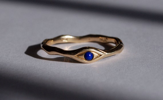 10k Gold and deep blue Lapis Eye Ring-US Size 8.25. Ready to Ship.