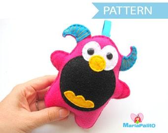Felt Monster Pattern, Felt Monster Sewing Pattern, Halloween Monster Pattern A334 PDF Sewing pattern