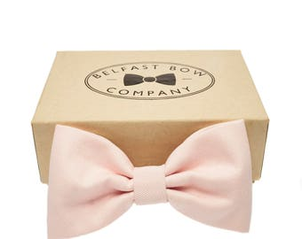 Handmade Bow Tie in Pale Pink - Adult & Junior sizes available