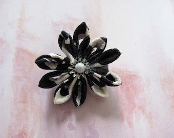 cream and black hair flower accessory, kanzashi, tsumami flower