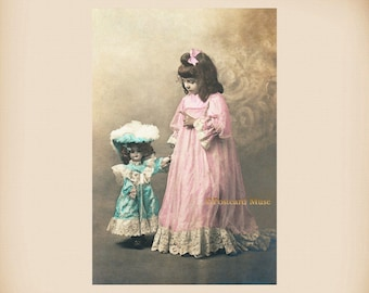 Girl With A Porcelain Doll New 4x6 Vintage Card Image Photo Print GD30