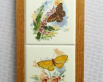 Butterflies, tile wall hanging, wall decor, decorative tile, butterfly, pastel butterfly, tile art, framed art, custom tile, custom frames