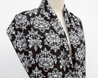 Damask Scarf, Black and White Scarf, Infinity Scarf, Loop Circle Scarf