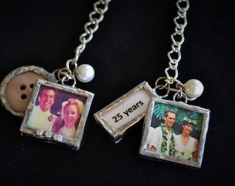 Wedding Anniversary Gift, 25th or 50th Anniversary Gift, Soldered Photo Charms, Commemoration Gift Bracelet,  Keepsake Jewelry, Photo Charms