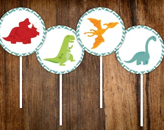 Colorful Dinosaur Cupcake Toppers - Printable PDF File
