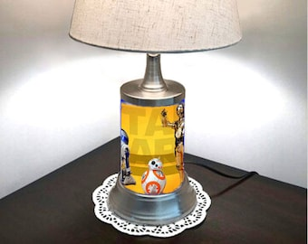 Superb Star Wars Lamp With Shade, C3PO, R2D2, BB8