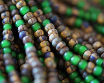 6/0 Aged Picasso Striped Mix - Verde Mix - Rustic Matte Seed Beads - Striped Tribal Beads Seed Beads - Bead Soup Beads