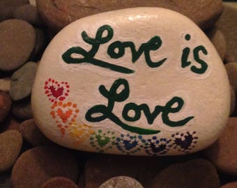 Celebrate Pride, Love Is Love, rainbow painted stones, message rocks, rainbow hearts, paper weight gift