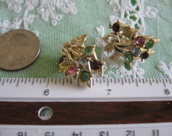 Vintage Clip-On Rhinestone Earrings, Multi-Color Stones, Blue, Pink, Violet, Green Bouquet