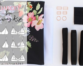 Darcey Bra - Styles 1, 2 & 3 SEWING KIT - Scuba - Black Large Floral