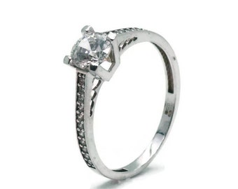Cubic Zirconia Ring, Engagement Rings, Cubic Zirconia Rings, 9ct White Gold, CZ Engagement, Gold Engagement, Cubic Zirconia