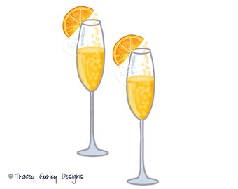Mimosa Clip Art, Champagne clip art, watercolor clip art, party clip art, mimosa bar, digital clip art, pop the bubbly, instant download