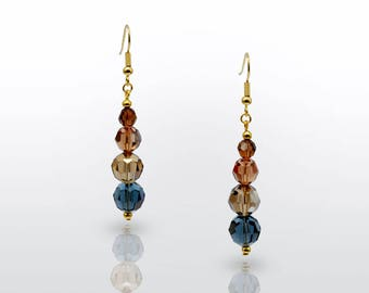Earrings 'Anne' I Swarovski crystal bronze gold beads and pearls with gold-filled earwire