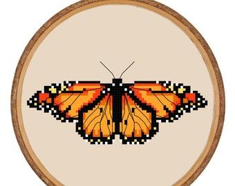 Cross-stitch PDF Pattern Instant Download - Entomology Monarch Butterfly