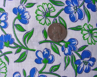 Vintage Feedsack Flour Sack  Cotton Fabric - STILLaSACK - Royal Blue, White and Green Flowers *  36 x 42