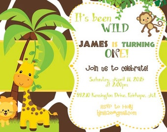 Wild Jungle Baby Invitation