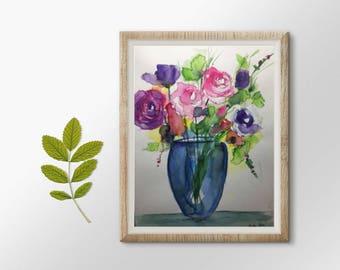 Original watercolor watercolor painting picture colorful bouquet flowers art Watercolor flowers