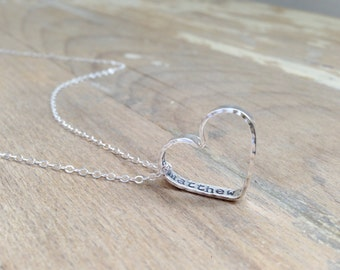 Hidden Message Heart - Handmade Sterling Silver Necklace - Personalized Gift - Child Name Neckace - Gift for Mom - Gift for Grandma - Heart