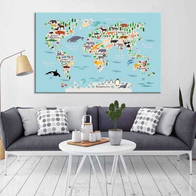 Animal world map for children and kids room decoration world map animal world map for children and kids room decoration world map for nursery room animal world map framed and ready to hang stretched gumiabroncs Choice Image