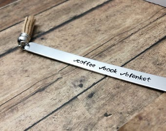 Coffee Book Blanket Bookmark - Tassel Bookmark - Book Lover Gift - Gift For Her - Mothers Day Gift - Hand Stamped Bookmark - Bookworm Gift