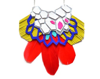 Leather Feather Statement Necklace, Geometric Hexagons Bib Necklace, Red and Electric Blue Statement Jewelry