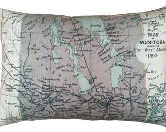 Manitoba Vintage Map Pillow - FREE SHIPPING