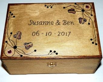 Wedding Box, Wedding Gift, Wooden Box, Personalized Box, Custom Jewelry Box, Engraved Box, Anniversary Gift