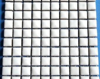 "100 MINI White Glazed Ceramic Tiles 3/8""//Mosaic Supplies//Mosaic Pieces//Crafts"