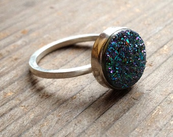 Peacock Drusy Ring Sterling Silver Ring Size 8.5 FREE SHIPPING