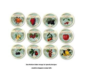 Fruit Market Labels Cabinet Drawer Knob - Apple, Cherry, Berry, Country Orchard, Home Decor, Farm House, Retro Kitchen Door Pull - 915E32