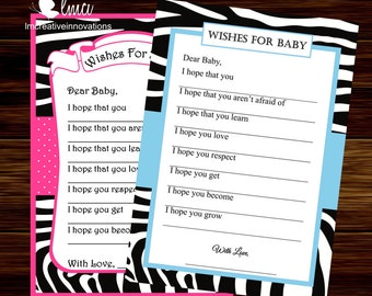 Zebra Print Wishes For Baby Card, Instant Download  - Digital File