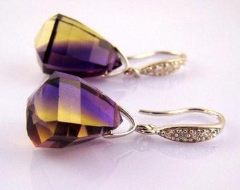 Bolivian Ametrine stone Pave Sterling Silver Earrings.  Purple Yellow Ametrine dangles. Ametrine jewelry.  Luxury earrings.