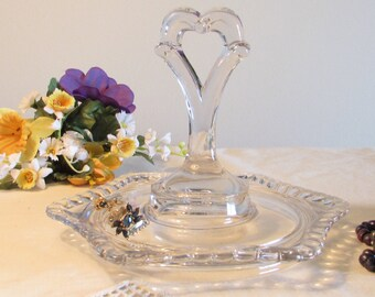 Star Shaped Serving Tray, Center Handled Tidbit Tray, Heart Designed Handle Jewelry Tray, Canape Glass Dish