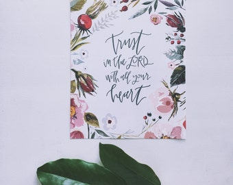 Watercolor Calligraphy Art | Christian Wall Art | Trust in the Lord | Proverbs 3:5 | Nursery Decor | Bible Verse Wall Art Decor | Floral