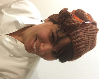 Buckled Cloche Hand Knit Hat in Heathered Pumpkin Quiltsy Handmade