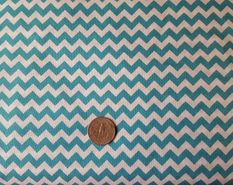 Turquoise and White Chevron 1/4 inch - By the Yard