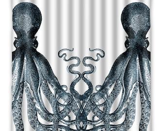 Shower Curtain Octopus - Twin Blue Octopus Tentacles - Octopus - Shower Curtain - Vintage Octopus Print - Octopus Bath Decor - Octopus Art