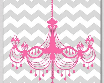 Pink and grey chandelier nursery Art Print - 8x10 - Children wall art, Baby girl Room Decor, pink, chevron, gray  - UNFRAMED