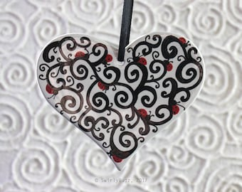 Swirly Ladybugs Heart, Valentine's Day, ornament, white ceramic