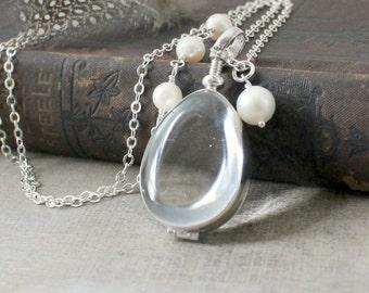 Silver Glass Locket, Bride Bridal Locket, Pearl Locket Necklace, Clear Locket Pendant, Push Present, Sterling Silver Locket, Picture Locket